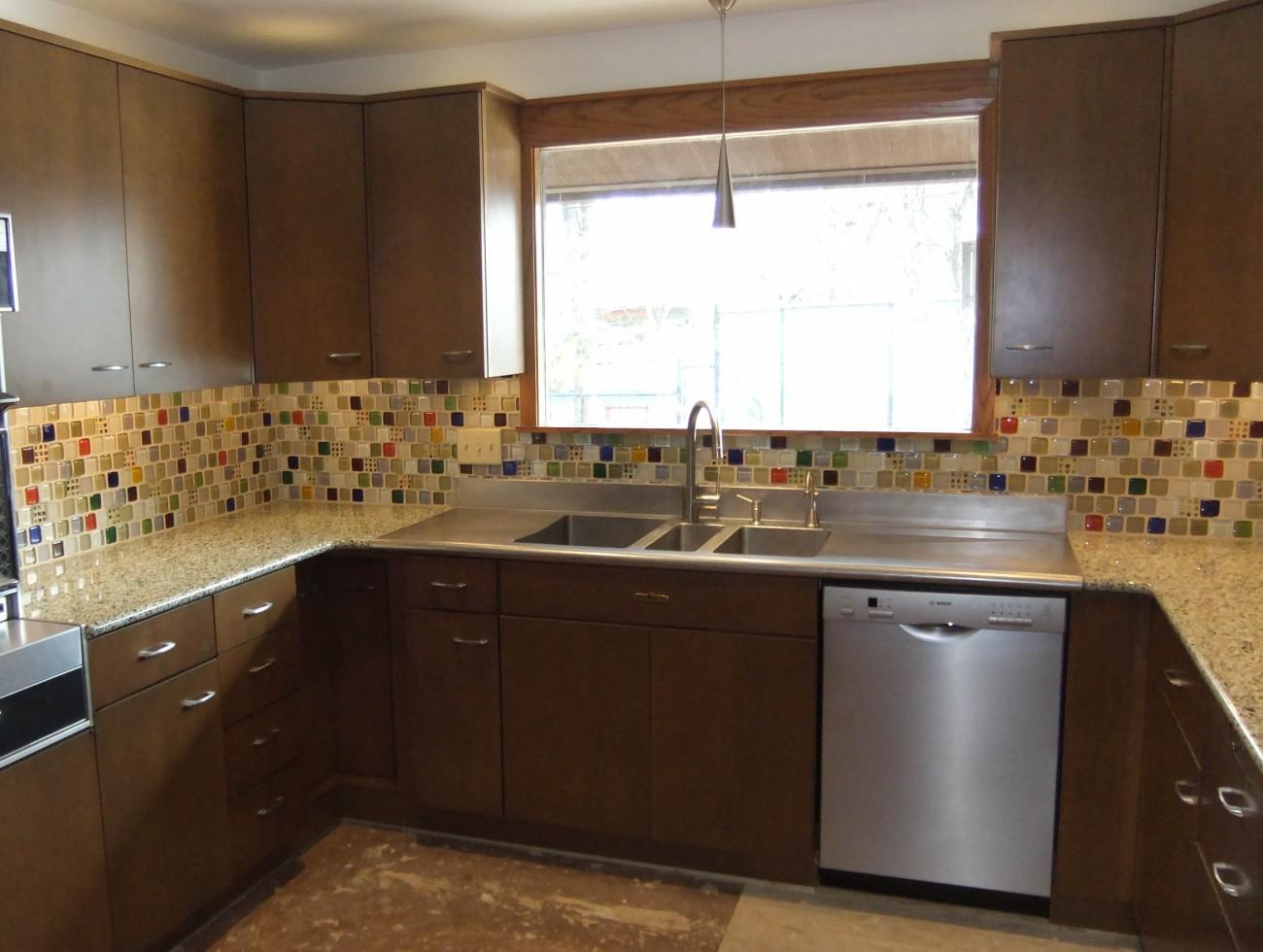 Custom Bubble Tile Backsplash In Mid Century Modern Kitchen
