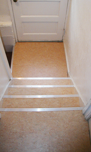 Transform The Eye Sore Of Basement Steps Using Eco Friendly Flooringu0027s  Linoleum Floor Planks. Custom Installed Here To Fit The Stairu0027s Dimensions,  ...